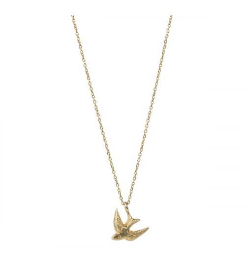 A Beautiful story Delicate Swallow sterling silver goldplated necklace