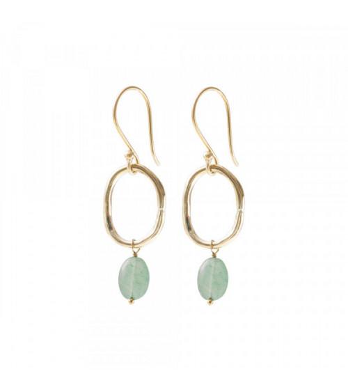A Beautiful story Graceful Aventurine Gold Earrings