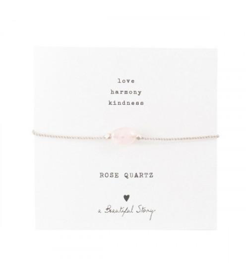 A Beautiful Story Edelsteen Kaart Rozenkwarts zilver armband