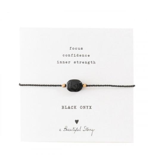A Beautiful Story Edelsteen Kaart Zwarte Onyx goud armband