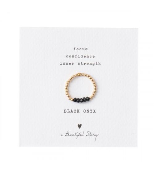 A Beautiful Story Beauty Black Onyx gold ring