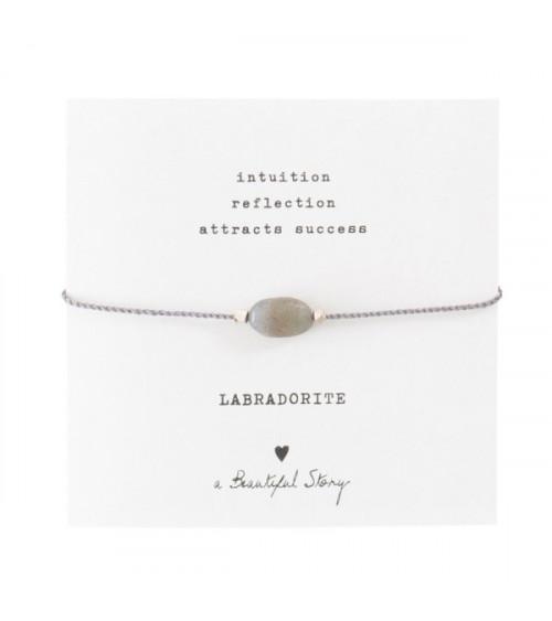 A Beautiful Story Edelsteen Kaart Labradoriet zilver armband