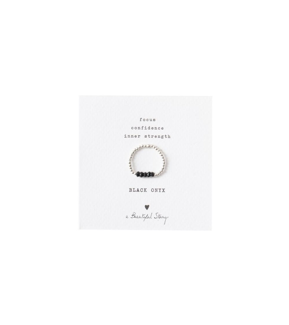 A Beautiful Story Beauty Black Onyx silver ring S/M