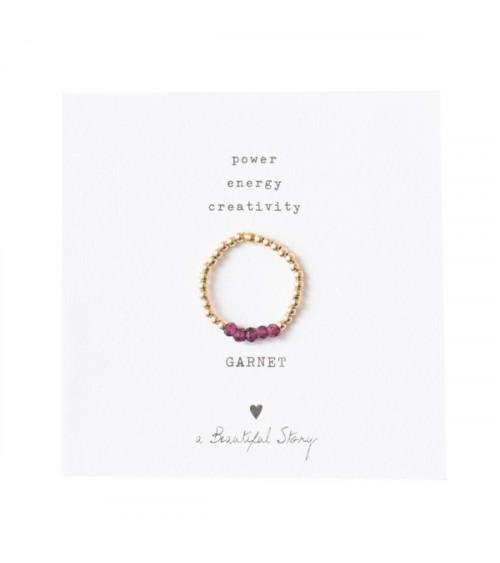 A Beautiful Story Beauty Granaat goud ring S/M