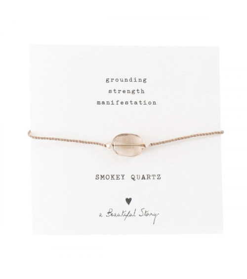 A Beautiful Story Edelsteen Kaart Rookkwarts zilver armband