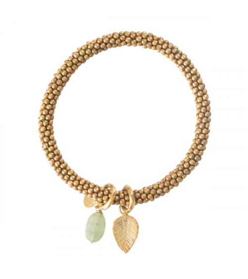 A Beautiful story Jacky Aventurine Leaf Gold Bracelet