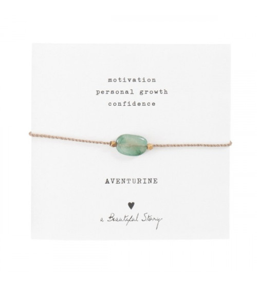 A Beautiful story Gemstone Card Aventurine Gold Bracelet
