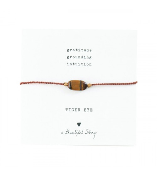 A Beautiful story Gemstone Card Tiger Eye Gold Bracelet