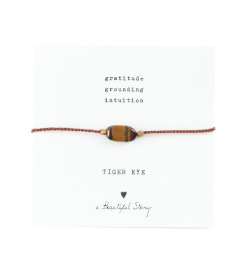 A Beautiful Story Edelsteen Kaart Tijgeroog goud armband