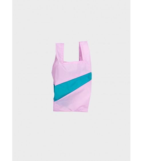 Susan Bijl Shoppingbag Pale Pink & Peacock Green S