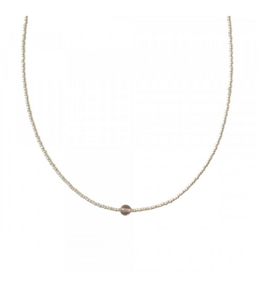 A Beautiful story Flora Smokey Quartz Silver necklace
