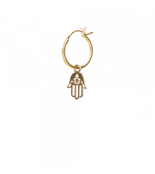 A Beautiful story Hamsa Sterling Silver Gold-Plated Hoop Earring