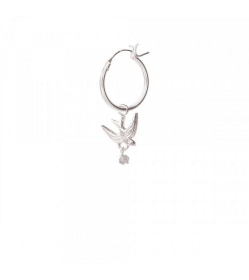 A Beautiful Story Swallow Labradorite sterling silver hoop earring