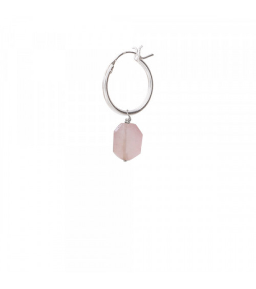 A Beautiful Story Rose Quartz sterling silver hoop earring
