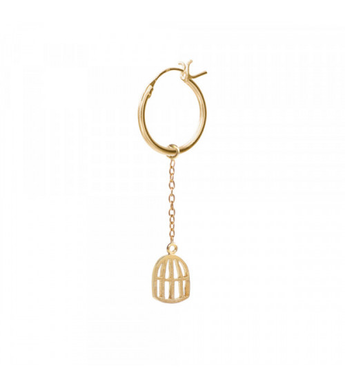 A Beautiful Story Birdcage Sterling Silver Gold-Plated Hoop Earring