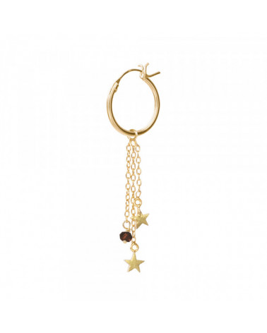 A Beautiful Story Stars Black Onyx sterling silver gold-plated hoop earring