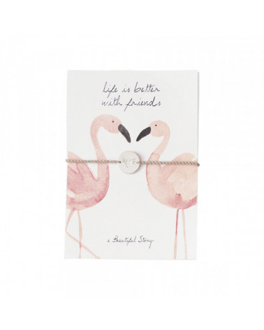 A Beautiful Story Jewelry Postcard Flamingos