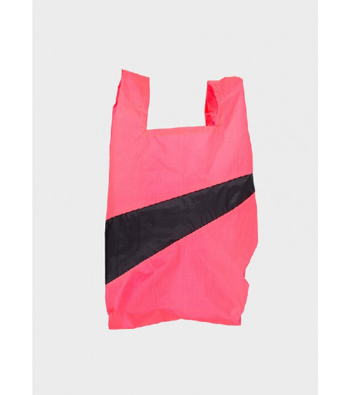 Susan Bijl Shoppingbag Fluo Pink & Black S