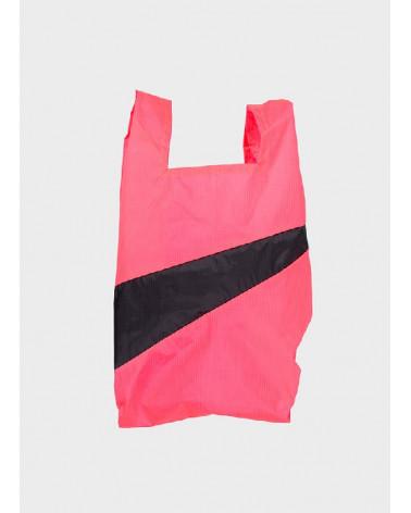 Susan Bijl Shoppingbag Fluo Pink & Black S