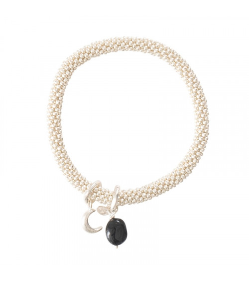 A Beautiful Story Jacky Black Onyx Moon Silver Bracelet