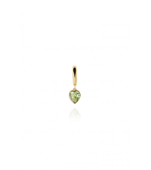 T.I.T.S. Heart Pendant Huggy Earring Peridot - Gold