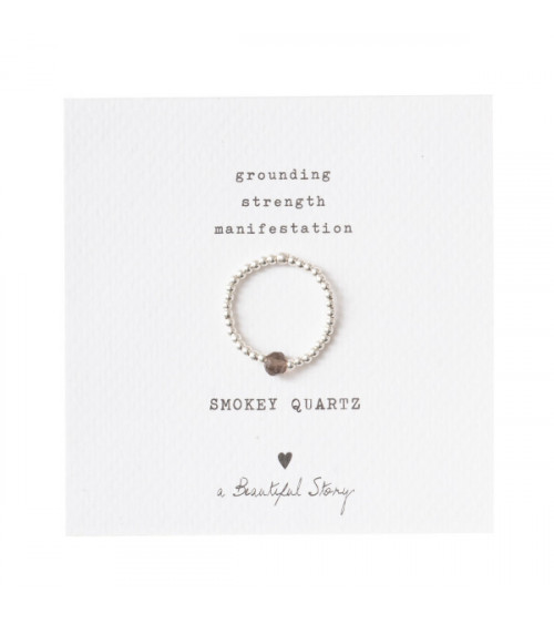 A Beautiful Story Sparkle Rookkwarts Zilver Ring