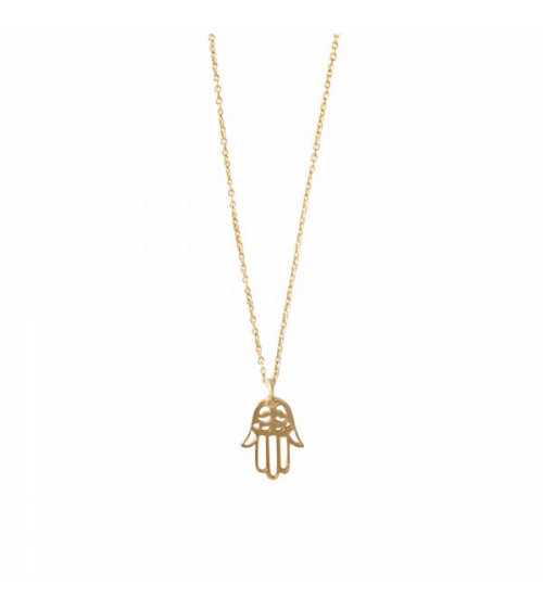 A Beautiful Story Delicate Hamsa Gold Necklace