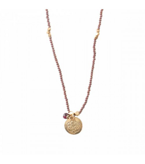 A Beautiful Story Truly Garnet Flower of Life Necklace