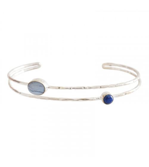 A Beautiful Story Birthday Lapis Lazuli/Blue Lace Agate Silver bracelet