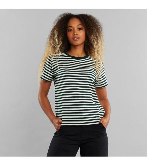 Dedicated T-shirt Mysen Stripes Donkergroen