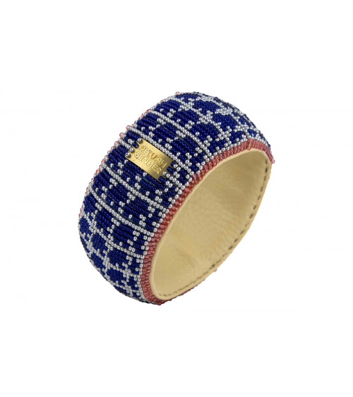 Return to Sender Beaded bracelet broad blauw/zilver