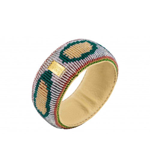Return to Sender Beaded Bracelet Broad Silver/Green