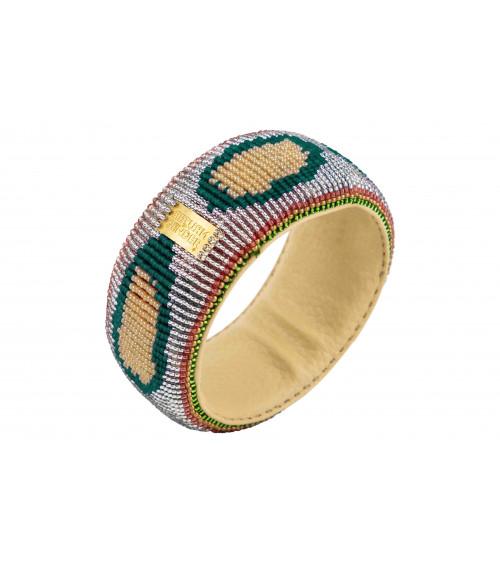 Return to Sender Beaded Bracelet Broad Zilver/Groen