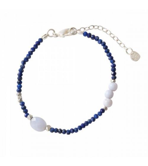 A Beautiful Story Sweet Lapis Lazuli/Blauwe Agaat Zilver Armband