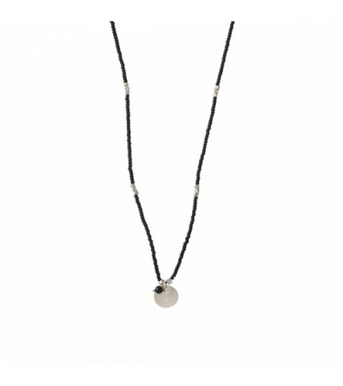 A Beautiful Story Truly Black Onyx Moon Silver Necklace