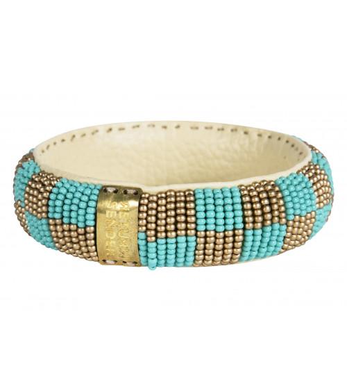Return to Sender Beaded bracelet slim aqua/goud