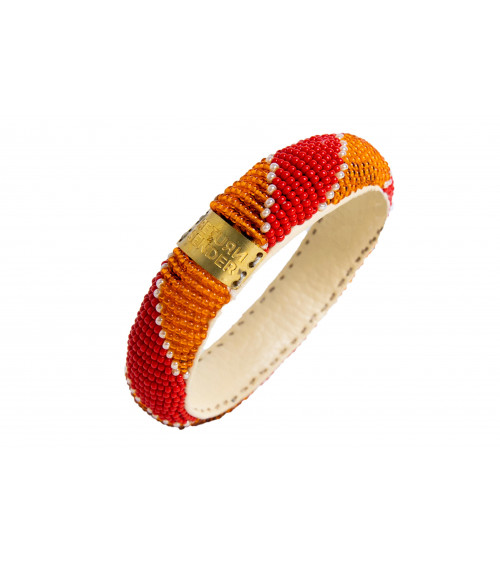 Return to Sender Beaded bracelet slim oranje/roze