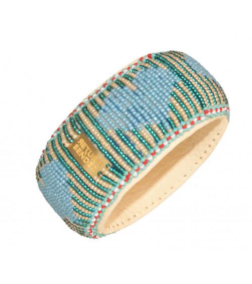 Return to Sender Beaded bracelet broad hartjes blauw