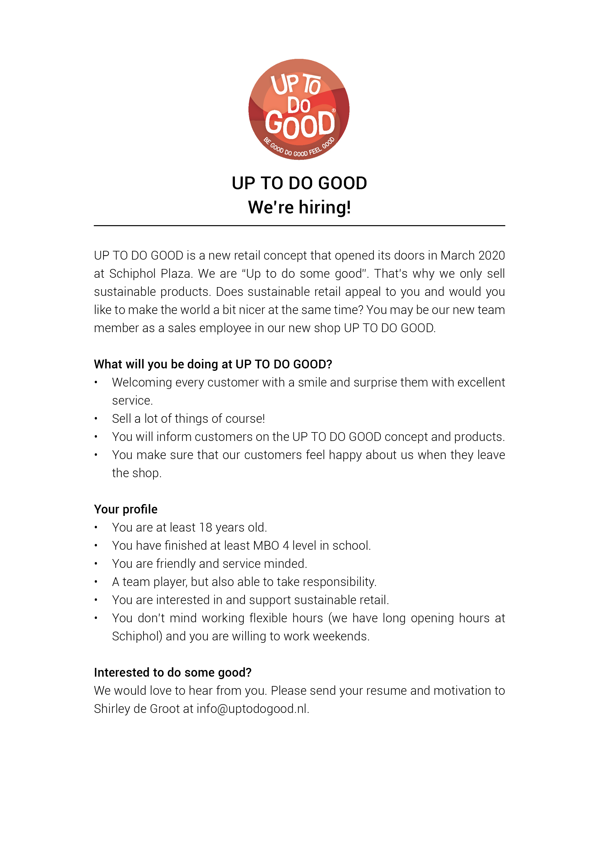 UP TO DO GOOD Vacancy